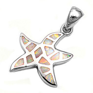 Starfish Simulated Opal Pendant Sterling Silver  16MM