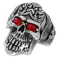 Wings of the Grim Reaper Skull Ring Sterling Silver 925 Simulated Ruby Cubic Zirconia Eyes