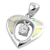 Heart Cubic Zirconia Simulated Opal Pendant Sterling Silver  17MM