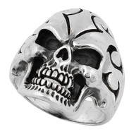 Flaming Coffin Warlock Skull Ring Sterling Silver 925