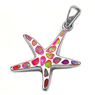 Starfish Simulated Opal Pendant Sterling Silver  22MM