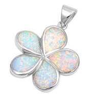 Flower Simulated Opal Pendant Sterling Silver  29MM