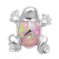 Frog Simulated Opal Pendant Sterling Silver  20MM