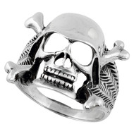 Danger Vigilante Skull Ring Sterling Silver 925