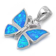Butterfly Simulated Opal Pendant Sterling Silver  16MM