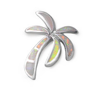 Palm Tree Simulated Opal Pendant Sterling Silver  23MM