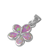 Flower Simulated Opal Pendant Sterling Silver  14MM