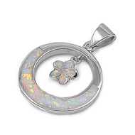 Flower Simulated Opal Pendant Sterling Silver  28MM