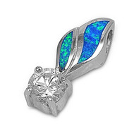 Feather Round Clear Cubic Zirconia Simulated Opal Pendant Sterling Silver  22MM