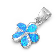 Flower Simulated Opal Pendant Sterling Silver  11MM