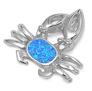 Crab Simulated Opal Pendant Sterling Silver  23MM