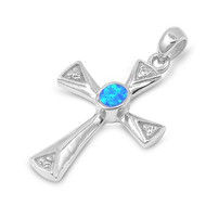Cross Simulated Opal Pendant Sterling Silver  31MM
