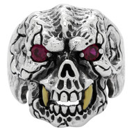 Beast with Gold-Tone Fangs Skull Ring Sterling Silver 925 Simulated Garnet Red Cubic Zirconia Eyes