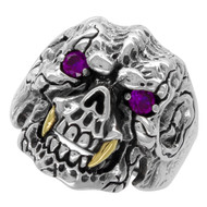 Beast with Gold-Tone Fangs Skull Ring Sterling Silver 925 Purple Cubic Zirconia Eyes