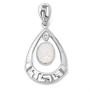 Teardrop Round Simulated Opal Pendant Sterling Silver  31MM