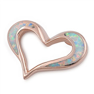 Heart Simulated Opal Pendant Sterling Silver  16MM