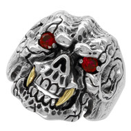 Beast with Gold-Tone Fangs Skull Ring Sterling Silver 925 Simulated Ruby Red Cubic Zirconia Eyes
