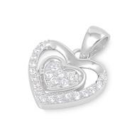 Double Heart Cubic Zirconia Pendant Sterling Silver  13MM