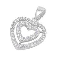 Double Heart Cubic Zirconia Pendant Sterling Silver  16MM