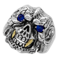 Beast with Gold-Tone Fangs Skull Ring Sterling Silver 925 Simulated Sapphire Blue Cubic Zirconia Eyes