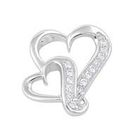 Double Heart Cubic Zirconia Pendant Sterling Silver  19MM