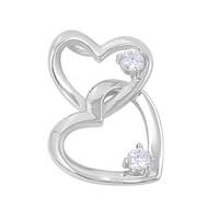 Double Heart Cubic Zirconia Pendant Sterling Silver  24MM