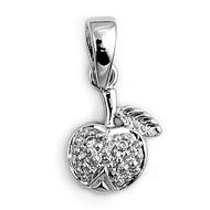 Apple Cubic Zirconia Pendant Sterling Silver  11MM