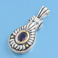 Jazz Age Two Toned Teardrop Oval Simulated Amethyst Cubic Zirconia Pendant Sterling Silver  34MM