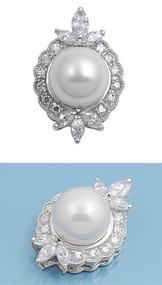 Designer Simulated Pearl Cubic Zirconia Pendant Sterling Silver  32MM