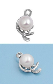 Designer Simulated Pearl Cubic Zirconia Pendant Sterling Silver  17MM