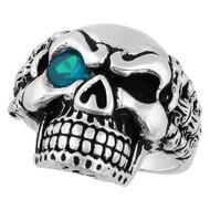 Bad Bones Skull Sterling Silver 925 Simulated Aqua Blue Cubic Zirconia Eye