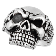 Bad Bones Skull Sterling Silver 925 Black Cubic Zirconia Eye