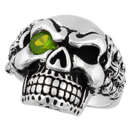 Bad Bones Skull Sterling Silver 925 Olive Green Cubic Zirconia Eye