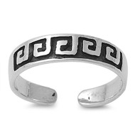 Greek Pattern Knuckle/Toe Ring Sterling Silver  4MM