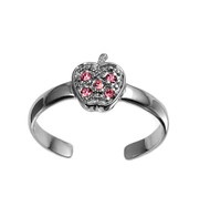Apple Knuckle/Toe Ring Pink Cubic Zirconia Sterling Silver  7MM