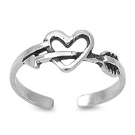 Cupid Arrow Heart Knuckle/Toe Ring Sterling Silver  6MM