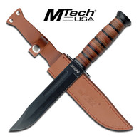 "•FIXED BLADES •12"" OVERALL •6.75"" 3.8MM THICK BLADE, 440 STAINLESS STEEL •BLACK BLADE •LEATHER CONSTRUCTED HANDLE •INCLUDES LEATHER SHEATH"