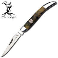 """•FOLDERS •2.5"""" BLADE, STAINLESS STEEL •SATIN BLADE •3.5"""" CLOSED •CAMO HANDLE WITH ELK MEDALLION AND MIRROR BOLSTER"""