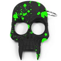 Skull Keychain Black with Green Splash