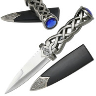"•Celtic Short Sword •9"" OVERALL •STAINLESS STEEL •BLADE WITH BLOOD GROOVE, SCOTTISH KNIFE •STAINLESS STEEL HANDLE WITH BLUE RUBY •INCLUDES HARD SCABBARD"