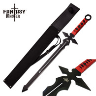 "FANTASY MASTER RED & BLACK FANTASY SHORT SWORD 26"" OVERALL  •Fantasy Short Sword •26"" OVERALL •3.2MM THICK BLADE, STAINLESS STEEL •BLACK BLADE •FULL TANG RED SYNTHETIC WRAPPED STAINLESS STEEL HANDLE •INCLUDES BLACK NYLON SHEATH"