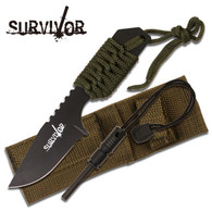 "Fixed Blade Knife •7"" OVERALL •3"" 2.8MM THICK BLADE, STAINLESS STEEL •BLACK BLADE •FULL TANG GREEN CORD WRAPPED HANDLE WITH LANYARD •INCLUDES NYLON SHEATH AND MAGNESIUM ALLOY FIRE STARTER"