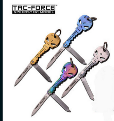 """FOLDING SKULL KEY KNIFE •1.75"""" 1.5MM THICK BLADE, STAINLESS STEEL •SATIN FINISHED BLADE •2.5"""" CLOSED •STAINLESS STEEL TITANIUM COATED HANDLE •Color choices Gold, Blue, Silver or Rainbow"""