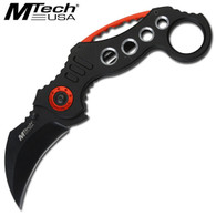 "KARAMBIT FOLDING KNIFE BLACK MTech 2.75"" 3MM THICK BLADE, STAINLESS STEEL •BLACK BLADE •4.5"" CLOSED •BLACK ALUMINUM HANDLE •INCLUDES POCKET CLIP"