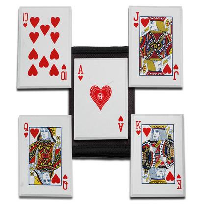 "Royal Flush Throwing Card Set •3.5"" X 2.3"" OVERALL •STAINLESS STEEL •ROYAL FLUSH THROWING CARD SET (HEART DESIGN) •INCLUDES NYLON SHEATH"