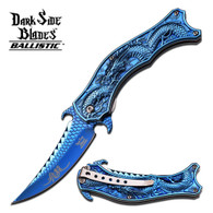 "Blue Titanium Dragon Spring Assisted Knife  •4"" 3MM THICK BLADE, STAINLESS STEEL •BLUE TITANIUM COATED MIRROR BLADE •4.5"" CLOSED •STAINLESS STEEL BLUE TITANIUM COATED MIRROR HANDLE •INCLUDES BLUE TITANIUM COATED POCKET CLIP"