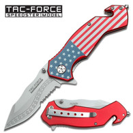 "AMERICAN FLAG KNIFE ALUMINUM HANDLE  Spring Assisted Knife •3.25"" 3MM THICK BLADE, STAINLESS STEEL •SILVER HALF SERRATED BLADE •4"" CLOSED •AMERICAN FLAG GRAPHIC ALUMINUM HANDLE •INCLUDES POCKET CLIP, SEAT BELT CUTTER & GLASS BREAKER"