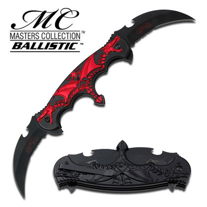 """•SPRING ASSISTED •1.75"""" 3MM THICK BLADE, STAINLESS STEEL •BLACK DUAL BLADE WITH RED FLAMING •6"""" CLOSED •DUAL RED DRAGON ON BLACK ALUMINUM HANDLE •INCLUDES POCKET CLIP"""