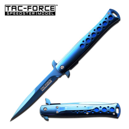 """•SPRING ASSISTED •4.2"""" 3MM THICK BLADE, STAINLESS STEEL •BLUE MIRROR TITANIUM COATED BLADE •5'''' CLOSED •MIRROR STAINLESS STEEL HANDLE •INCLUDES POCKET CLIP"""