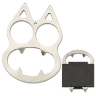 """•CAT BOTTLE OPENER  •SELF DEFENSE EQUIPMENT •3"""" X 2.15"""" OVERALL •2.8MM THICK, STAINLESS STEEL •CAT STYLE WITH BOTTLE OPENER •INCLUDES NYLON FIBER SHEATH •*NO SHIP TO CALIFORNIA AND NEVADA*"""